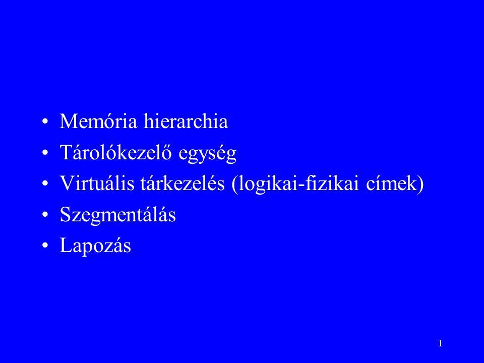 Memória hierarchia Tárolókezelő egység. Virtuális tárkezelés (logikai-fizikai címek) Szegmentálás.