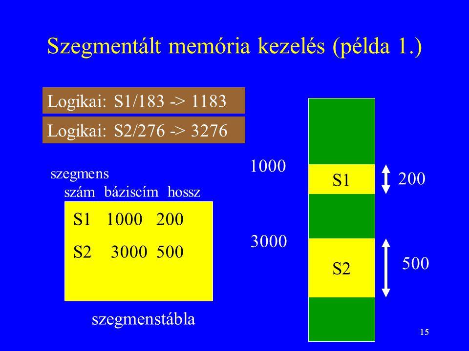 Szegmentált memória kezelés (példa 1.)