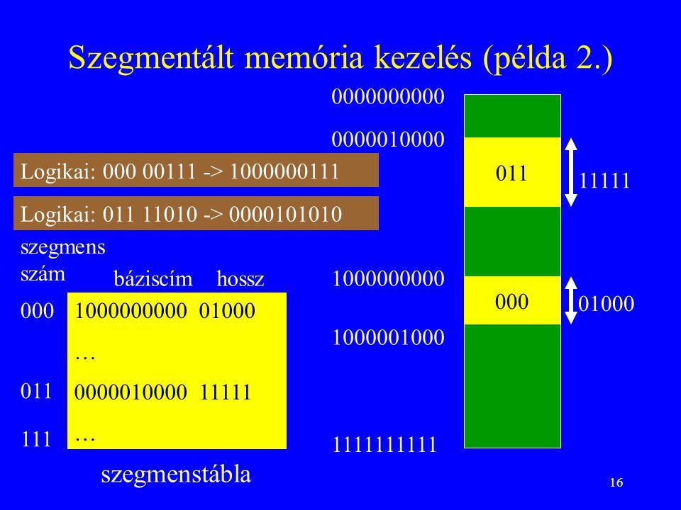 Szegmentált memória kezelés (példa 2.)