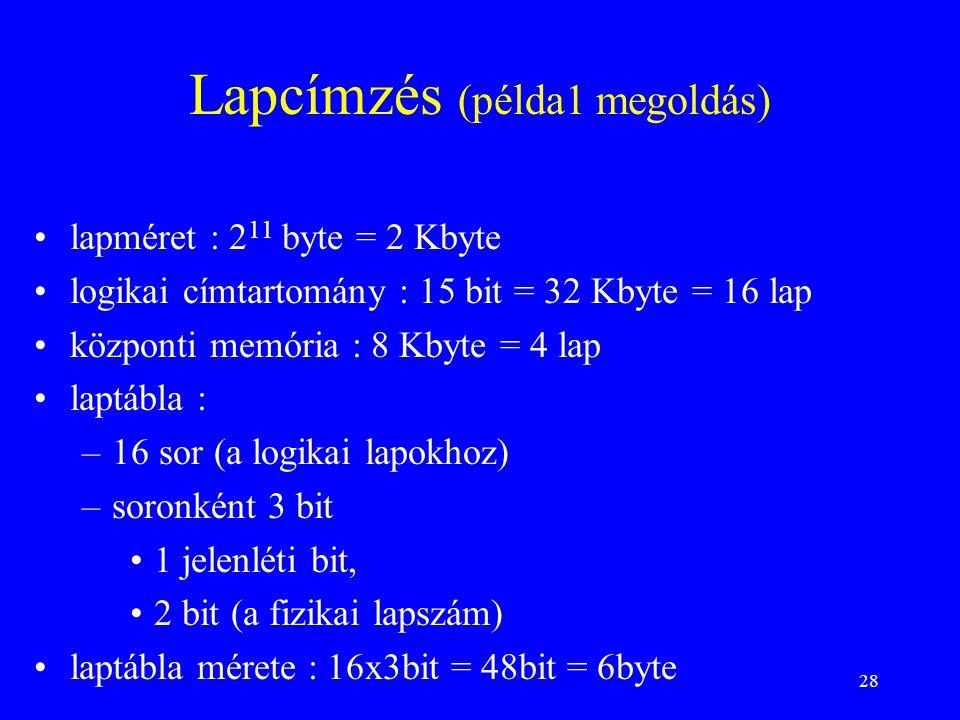 Lapcímzés (példa1 megoldás)