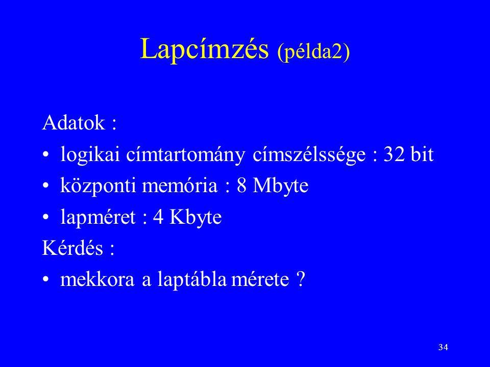 Lapcímzés (példa2) Adatok : logikai címtartomány címszélssége : 32 bit