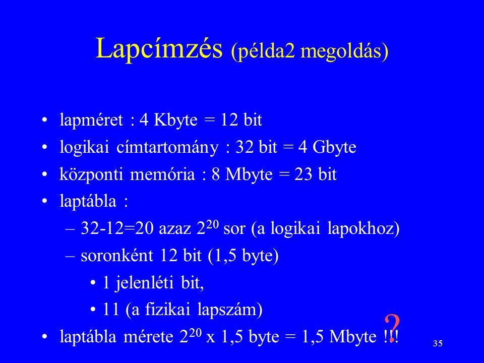 Lapcímzés (példa2 megoldás)