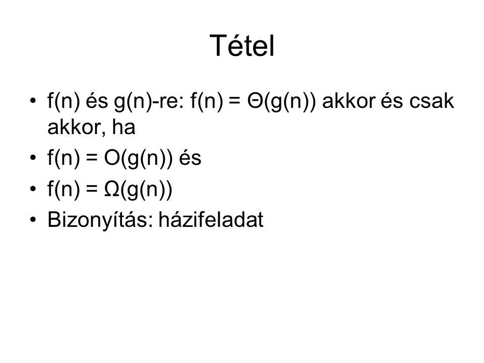 Tétel f(n) és g(n)-re: f(n) = Θ(g(n)) akkor és csak akkor, ha
