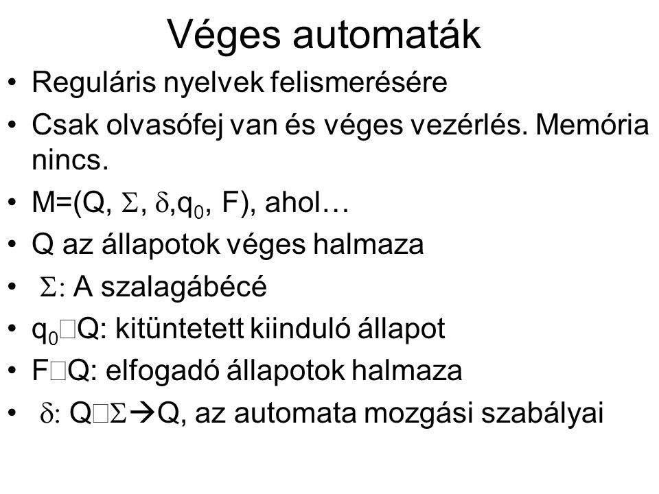 Véges automaták Reguláris nyelvek felismerésére