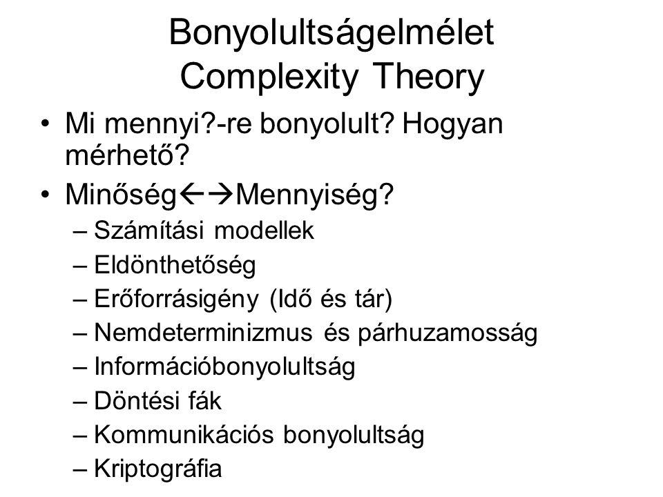 Bonyolultságelmélet Complexity Theory