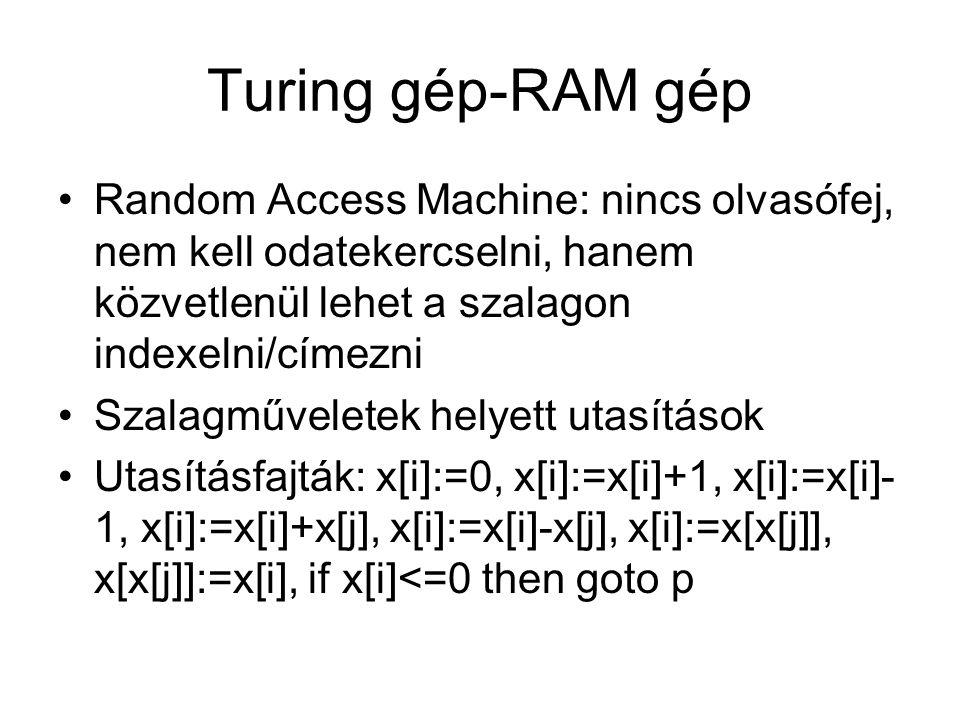 Turing gép-RAM gép Random Access Machine: nincs olvasófej, nem kell odatekercselni, hanem közvetlenül lehet a szalagon indexelni/címezni.