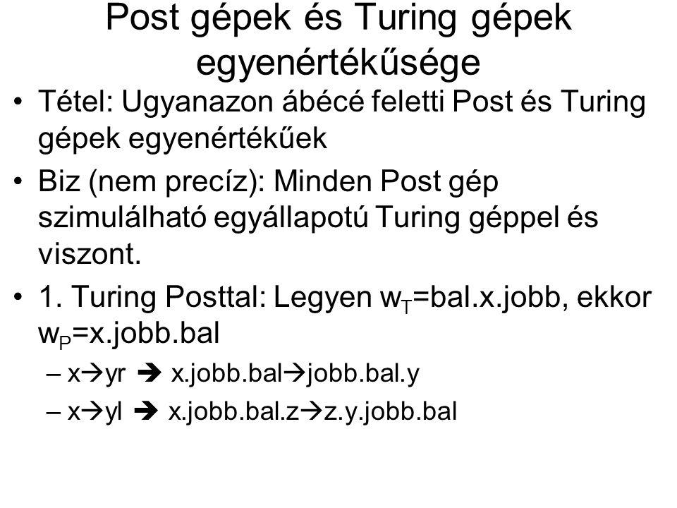 Post gépek és Turing gépek egyenértékűsége
