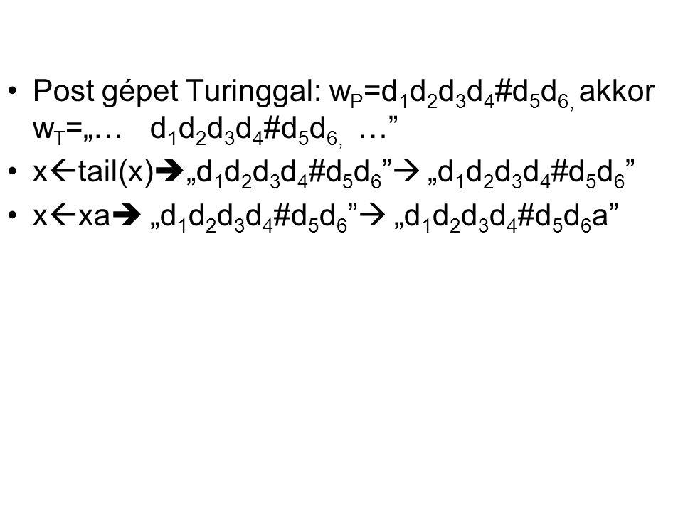 "Post gépet Turinggal: wP=d1d2d3d4#d5d6, akkor wT=""… d1d2d3d4#d5d6, …"
