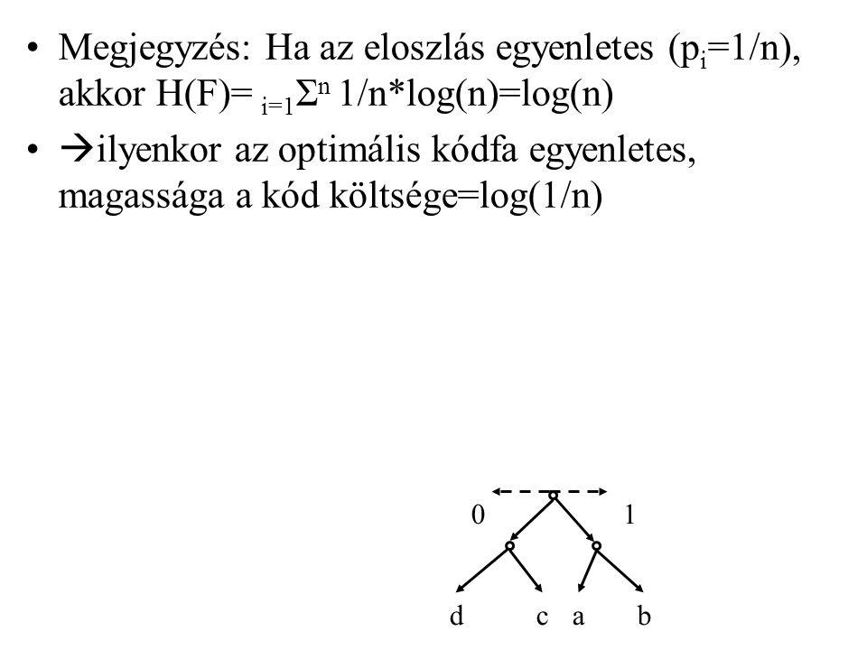 Megjegyzés: Ha az eloszlás egyenletes (pi=1/n), akkor H(F)= i=1Σn 1/n