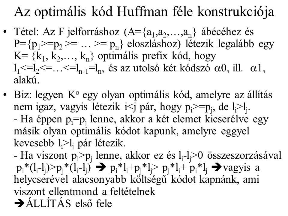 Az optimális kód Huffman féle konstrukciója