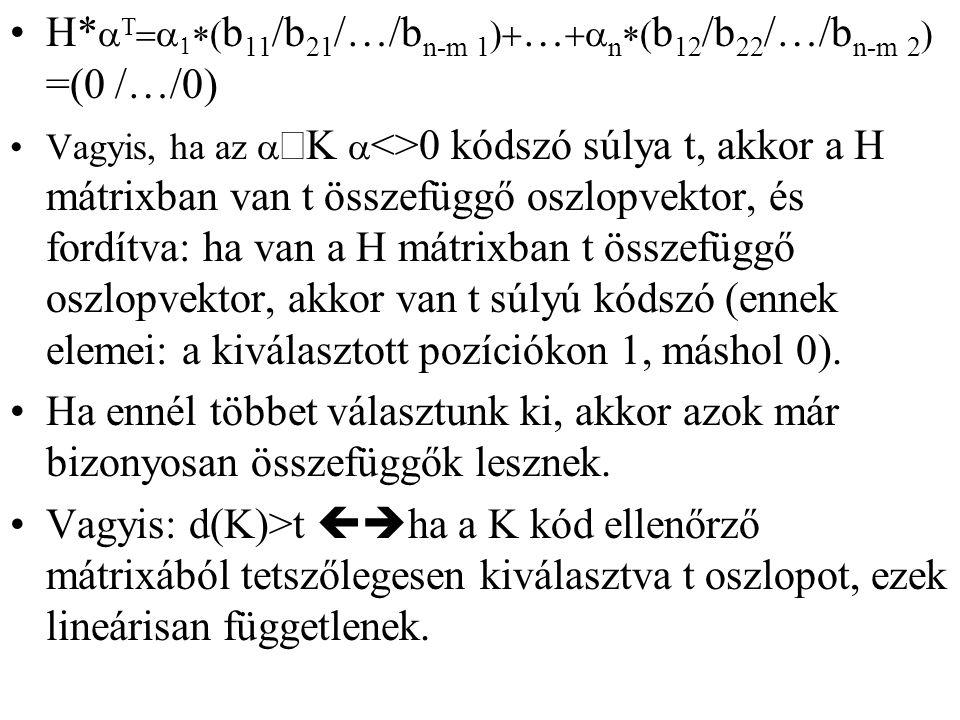H*aT=a1*(b11/b21/…/bn-m 1)+…+an*(b12/b22/…/bn-m 2) =(0 /…/0)