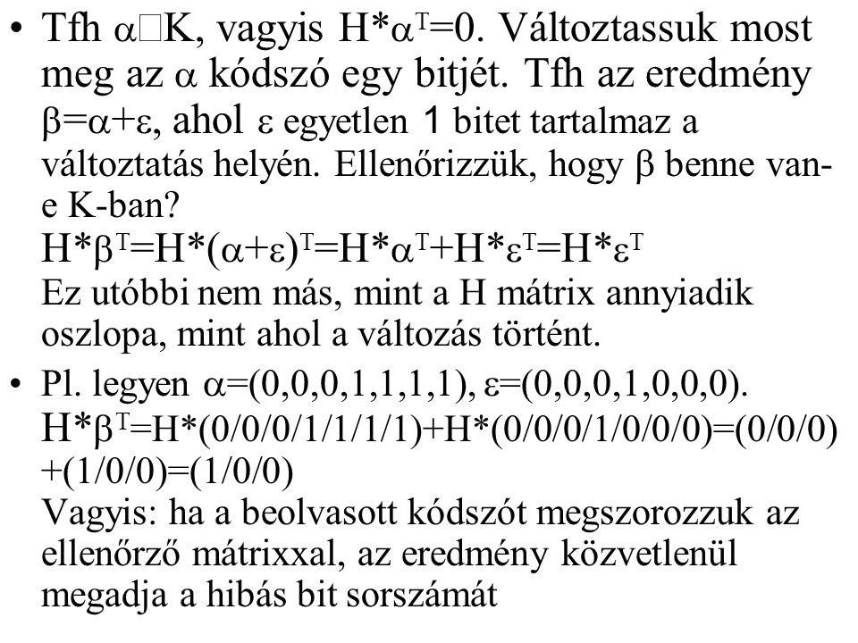Tfh aÎK, vagyis H. aT=0. Változtassuk most meg az a kódszó egy bitjét