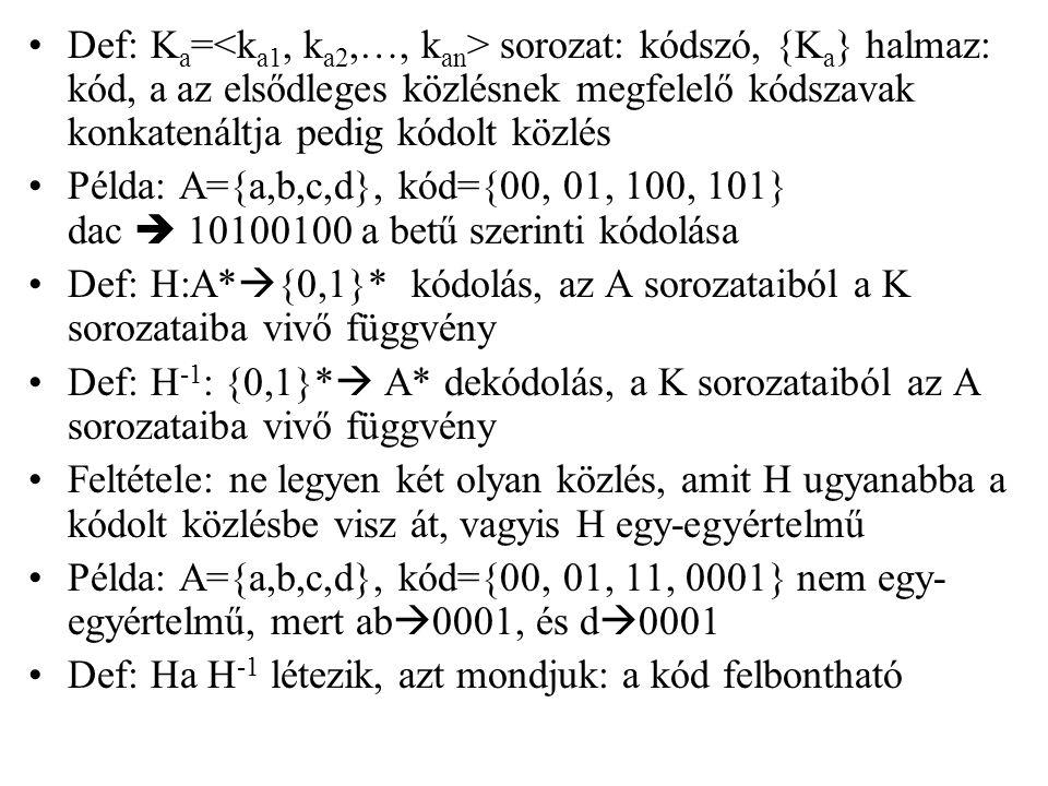 Def: Ka=<ka1, ka2,…, kan> sorozat: kódszó, {Ka} halmaz: kód, a az elsődleges közlésnek megfelelő kódszavak konkatenáltja pedig kódolt közlés