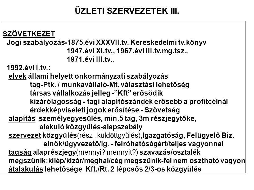 ÜZLETI SZERVEZETEK III.