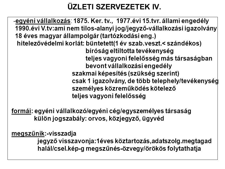 ÜZLETI SZERVEZETEK IV. -egyéni vállalkozás: 1875. Ker. tv., 1977.évi 15.tvr. állami engedély.