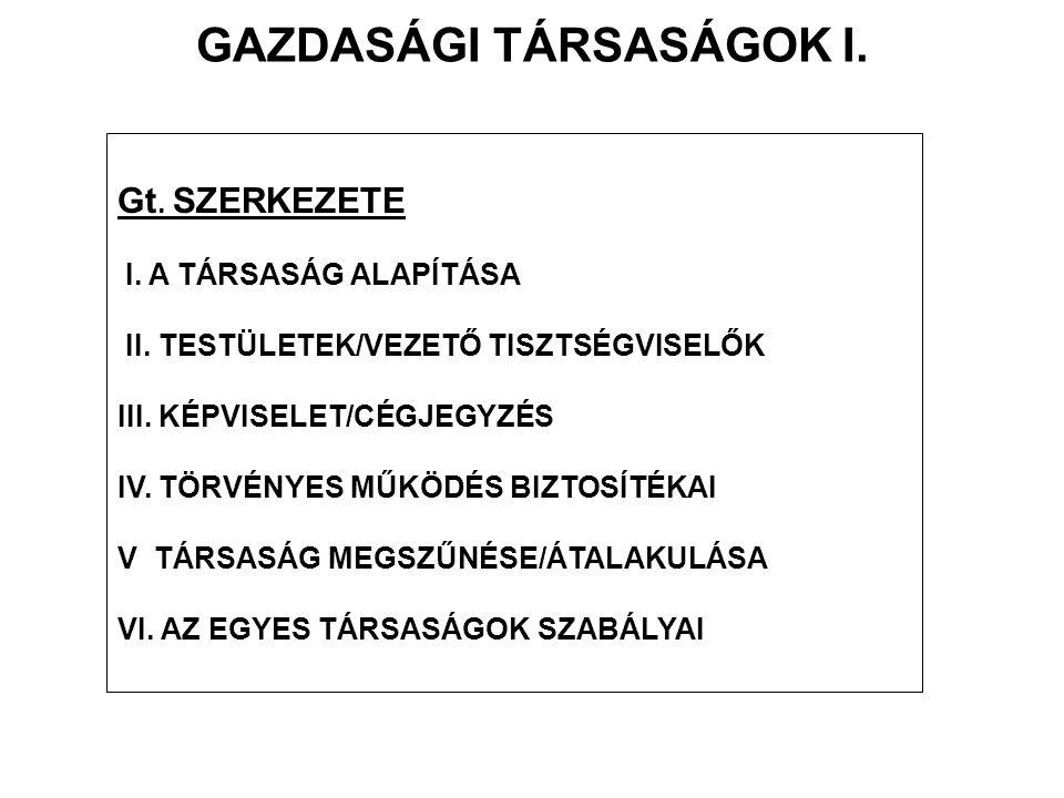 GAZDASÁGI TÁRSASÁGOK I.