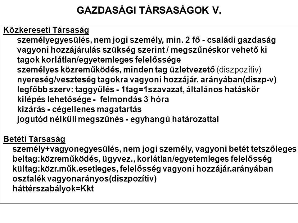 GAZDASÁGI TÁRSASÁGOK V.