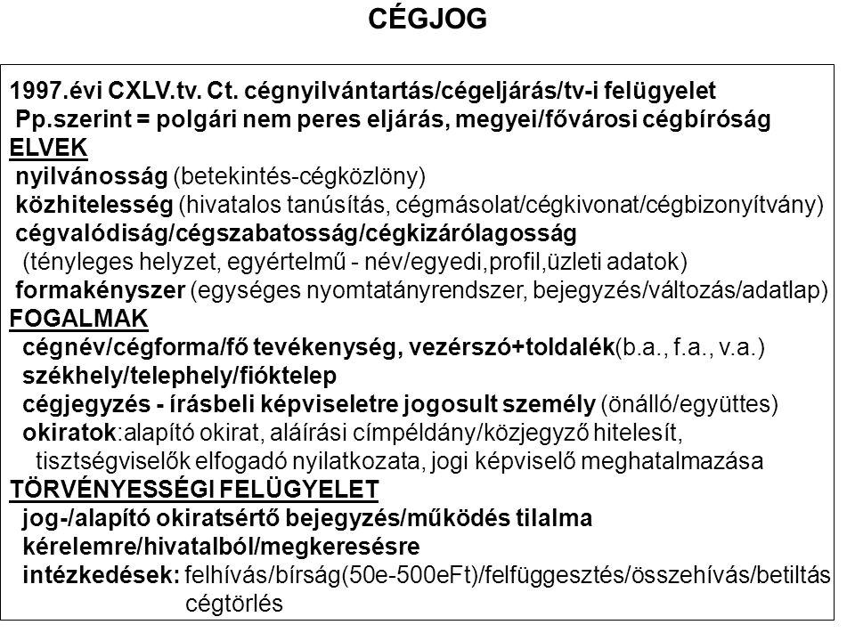 CÉGJOG 1997.évi CXLV.tv. Ct. cégnyilvántartás/cégeljárás/tv-i felügyelet. Pp.szerint = polgári nem peres eljárás, megyei/fővárosi cégbíróság.