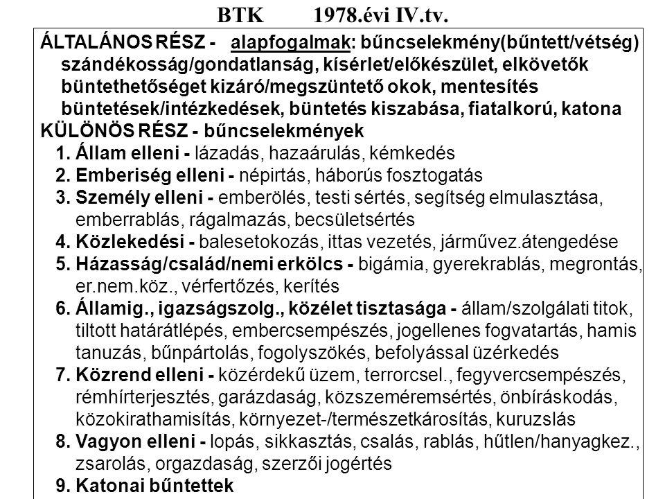 BTK 1978.évi IV.tv. ÁLTALÁNOS RÉSZ - alapfogalmak: bűncselekmény(bűntett/vétség)