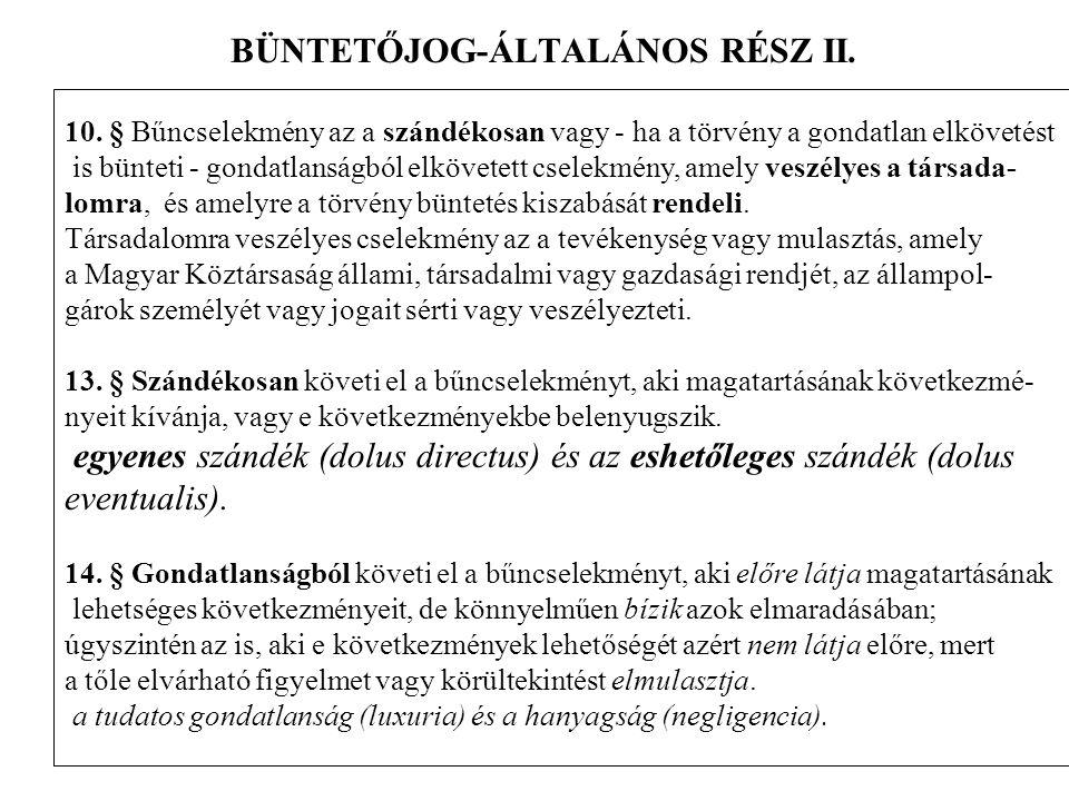 BÜNTETŐJOG-ÁLTALÁNOS RÉSZ II.