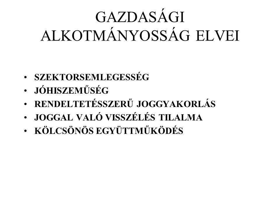 GAZDASÁGI ALKOTMÁNYOSSÁG ELVEI