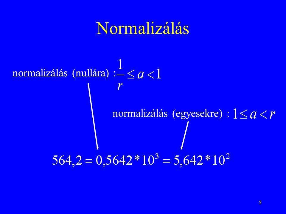 Normalizálás normalizálás (nullára) : normalizálás (egyesekre) :