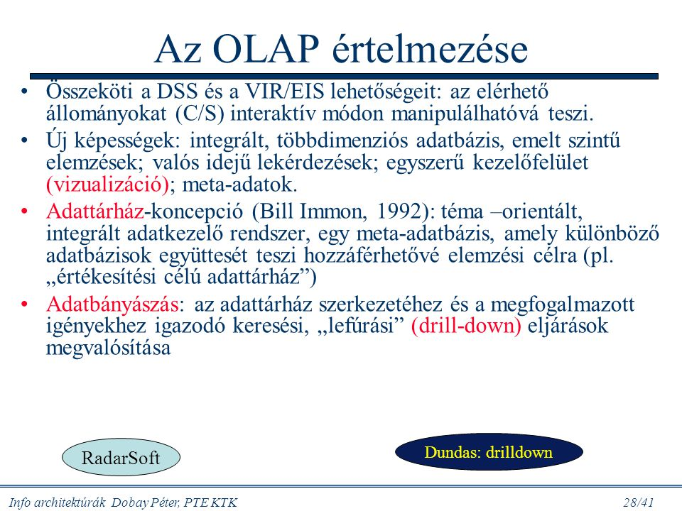 Az OLAP értelmezése Összeköti a DSS és a VIR/EIS lehetőségeit: az elérhető állományokat (C/S) interaktív módon manipulálhatóvá teszi.