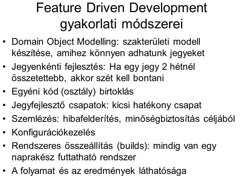 Feature Driven Development gyakorlati módszerei
