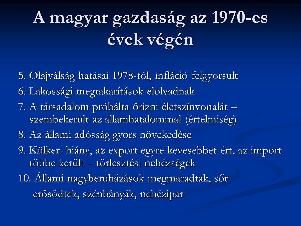 A magyar gazdaság az 1970-es évek végén