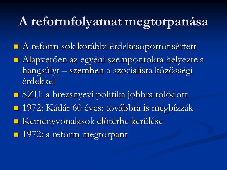 A reformfolyamat megtorpanása
