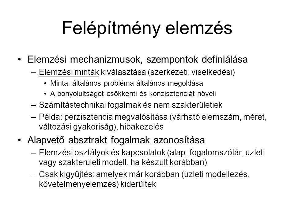 Felépítmény elemzés Elemzési mechanizmusok, szempontok definiálása