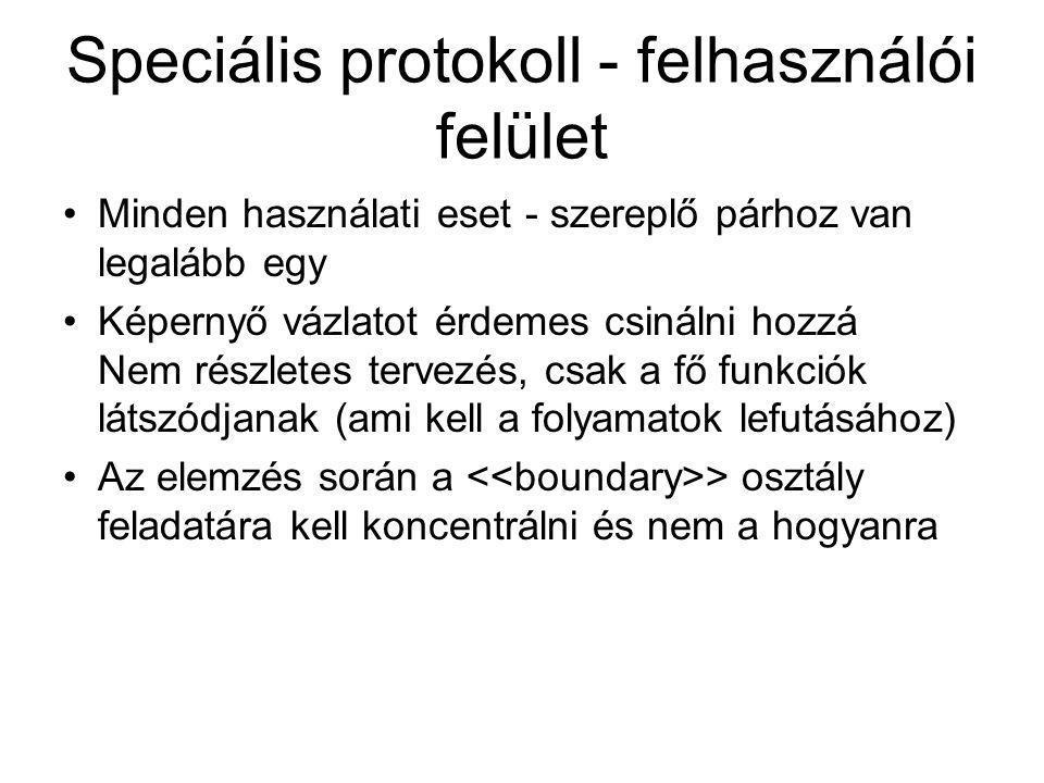 Speciális protokoll - felhasználói felület