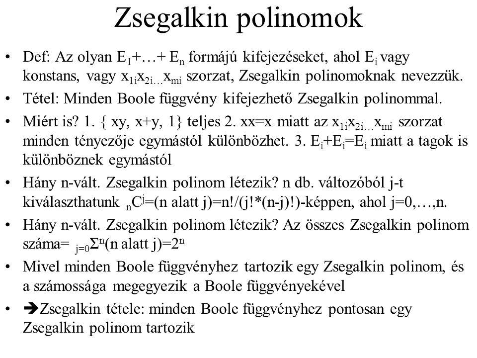 Zsegalkin polinomok Def: Az olyan E1+…+ En formájú kifejezéseket, ahol Ei vagy konstans, vagy x1ix2i…xmi szorzat, Zsegalkin polinomoknak nevezzük.