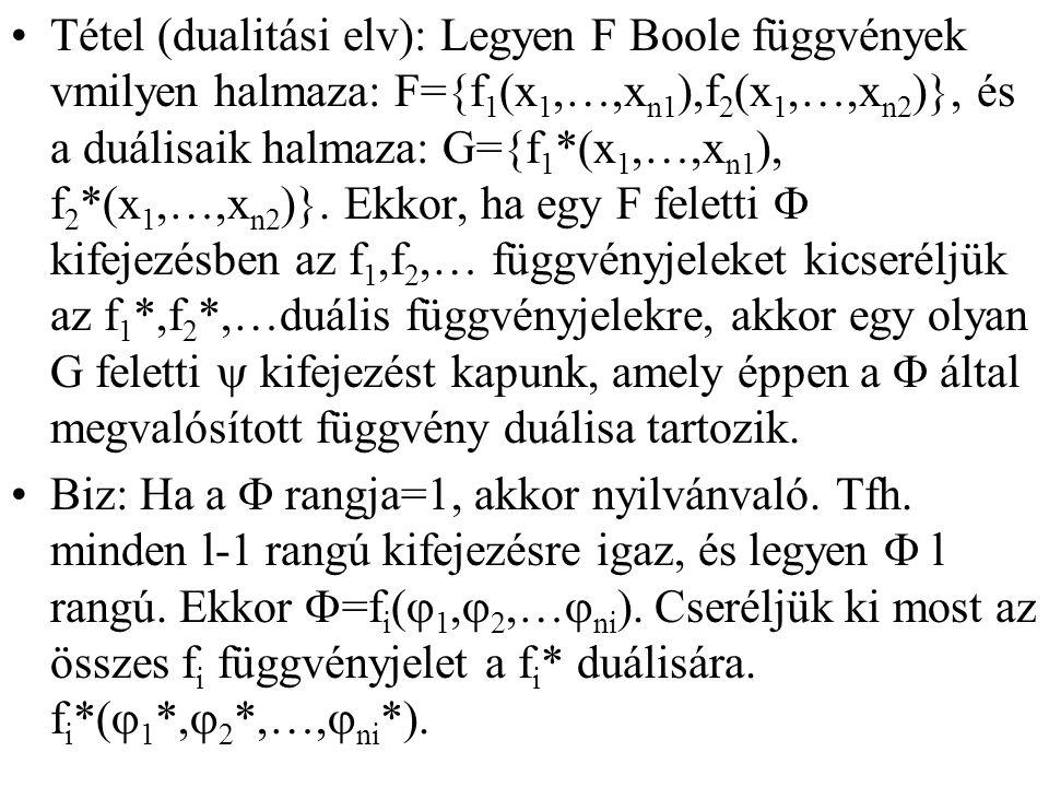 Tétel (dualitási elv): Legyen F Boole függvények vmilyen halmaza: F={f1(x1,…,xn1),f2(x1,…,xn2)}, és a duálisaik halmaza: G={f1*(x1,…,xn1), f2*(x1,…,xn2)}. Ekkor, ha egy F feletti F kifejezésben az f1,f2,… függvényjeleket kicseréljük az f1*,f2*,…duális függvényjelekre, akkor egy olyan G feletti y kifejezést kapunk, amely éppen a F által megvalósított függvény duálisa tartozik.