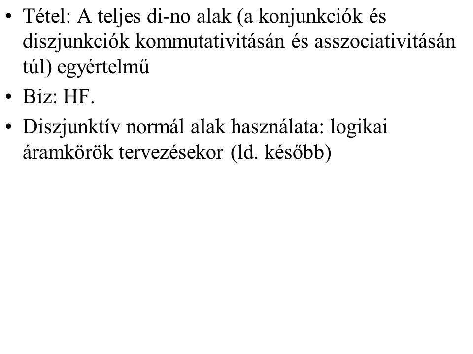 Tétel: A teljes di-no alak (a konjunkciók és diszjunkciók kommutativitásán és asszociativitásán túl) egyértelmű