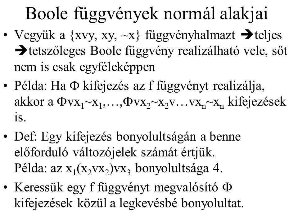 Boole függvények normál alakjai