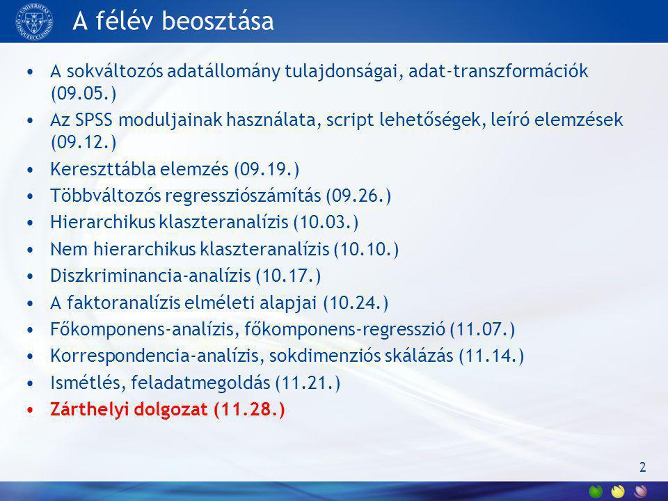 A félév beosztása A sokváltozós adatállomány tulajdonságai, adat-transzformációk (09.05.)