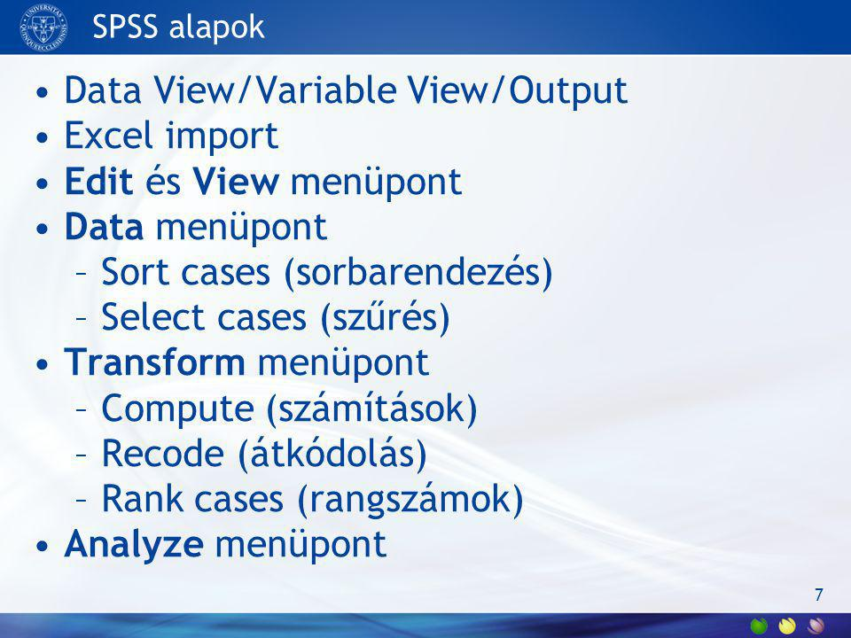 Data View/Variable View/Output Excel import Edit és View menüpont