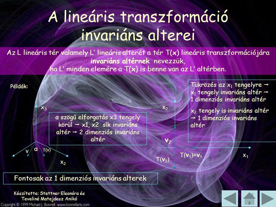A lineáris transzformáció invariáns alterei