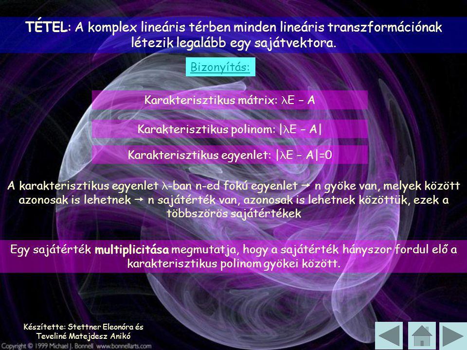 TÉTEL: A komplex lineáris térben minden lineáris transzformációnak létezik legalább egy sajátvektora.