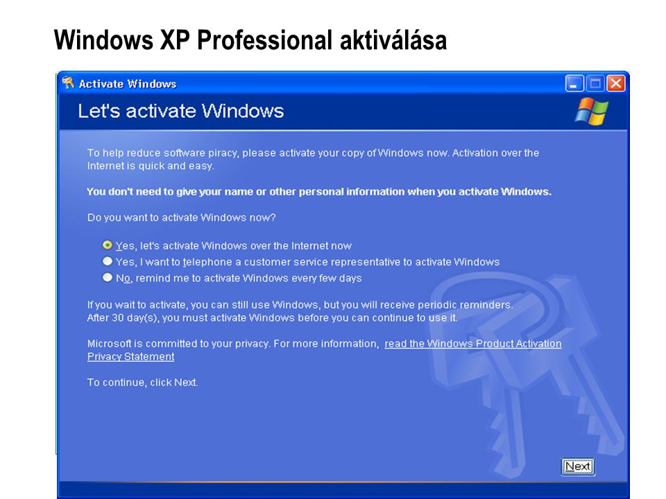 Windows XP Professional aktiválása