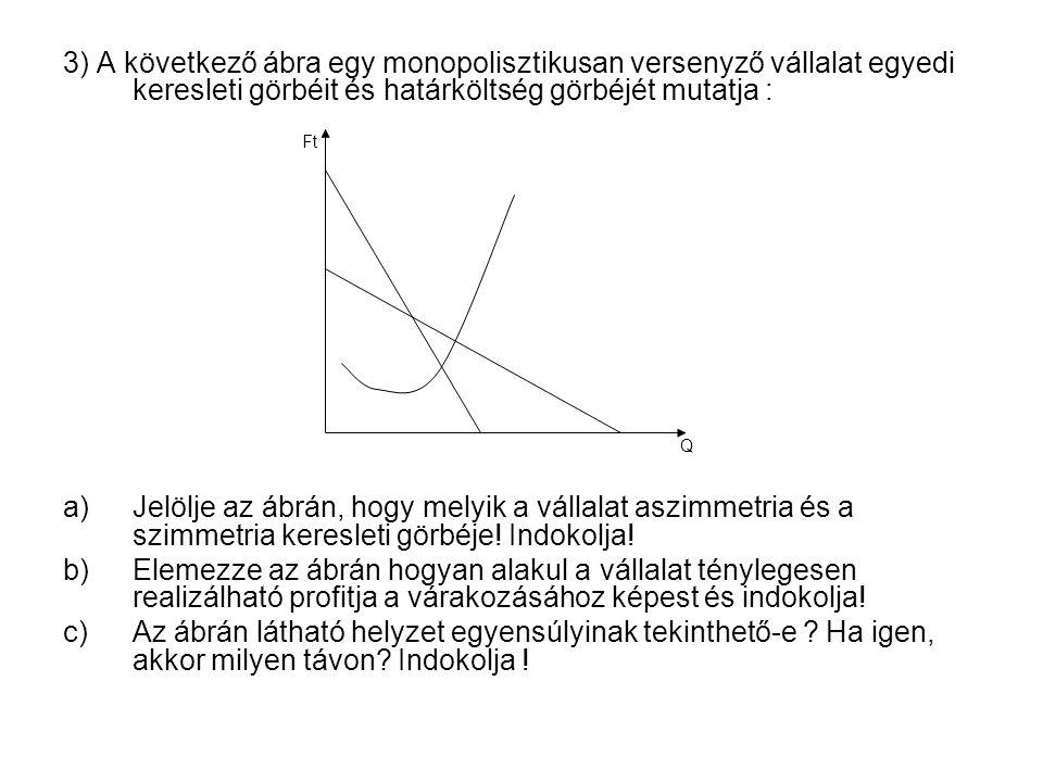3) A következő ábra egy monopolisztikusan versenyző vállalat egyedi keresleti görbéit és határköltség görbéjét mutatja :