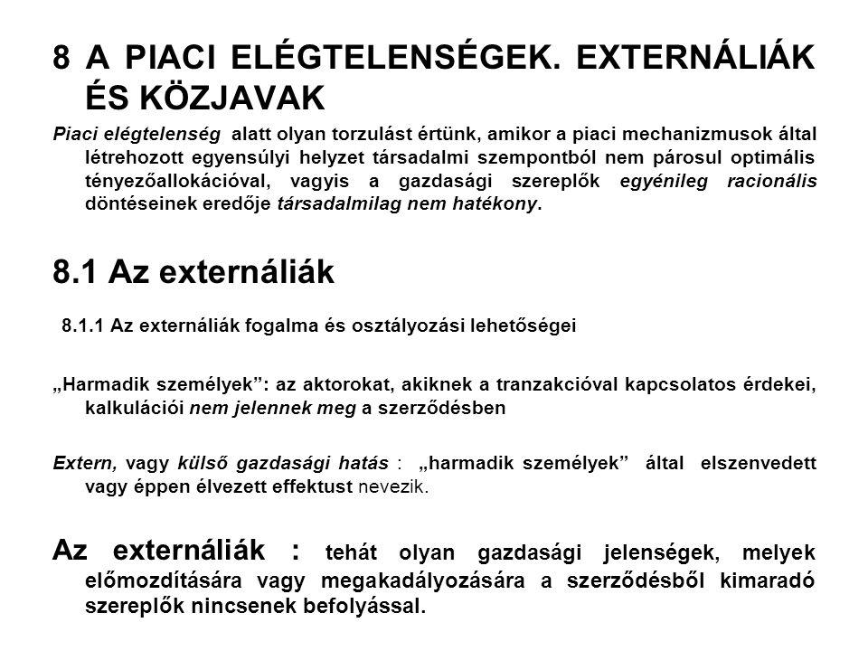 8 A PIACI ELÉGTELENSÉGEK. EXTERNÁLIÁK ÉS KÖZJAVAK