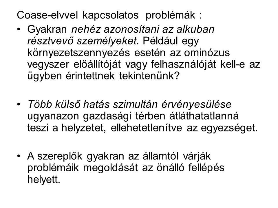 Coase-elvvel kapcsolatos problémák :