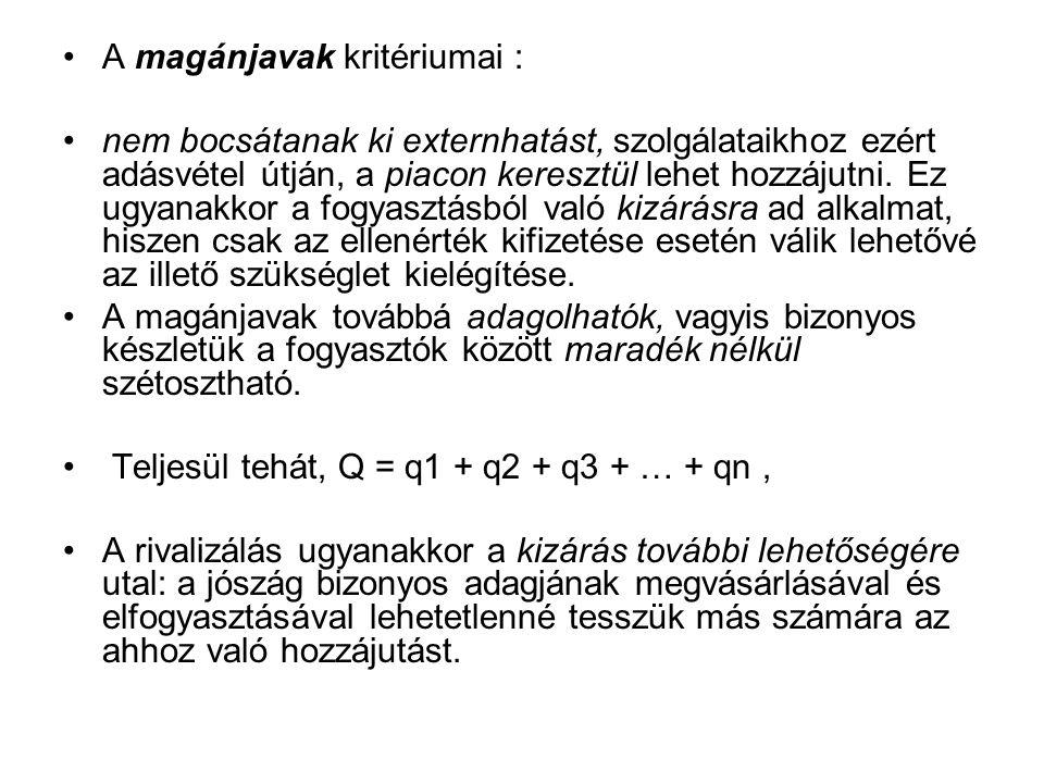 A magánjavak kritériumai :