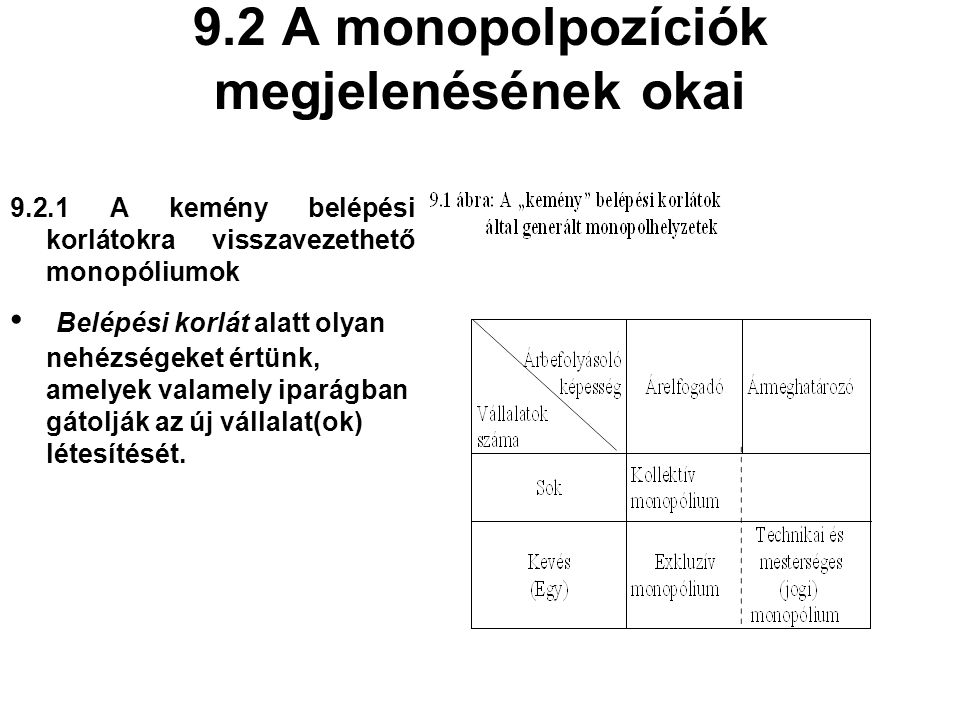 9.2 A monopolpozíciók megjelenésének okai
