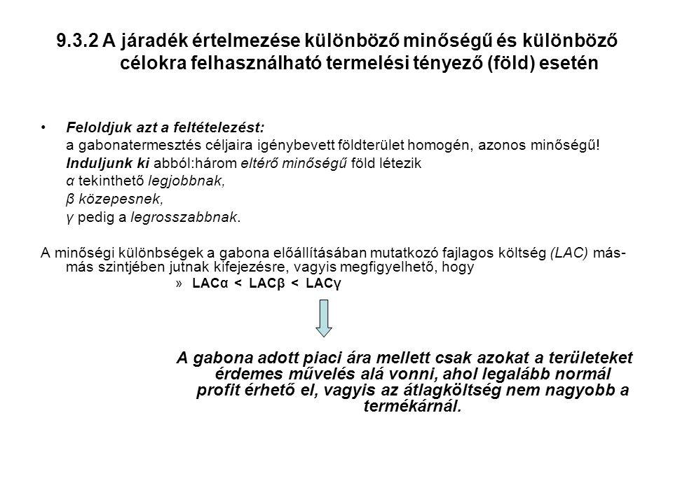 9.3.2 A járadék értelmezése különböző minőségű és különböző célokra felhasználható termelési tényező (föld) esetén