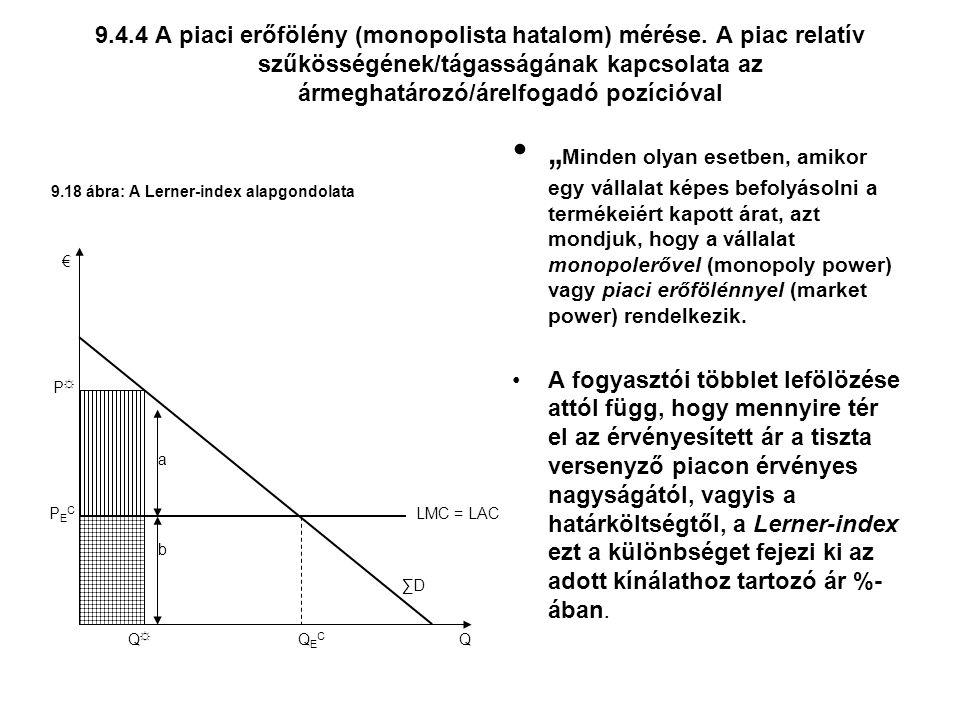 9. 4. 4 A piaci erőfölény (monopolista hatalom) mérése