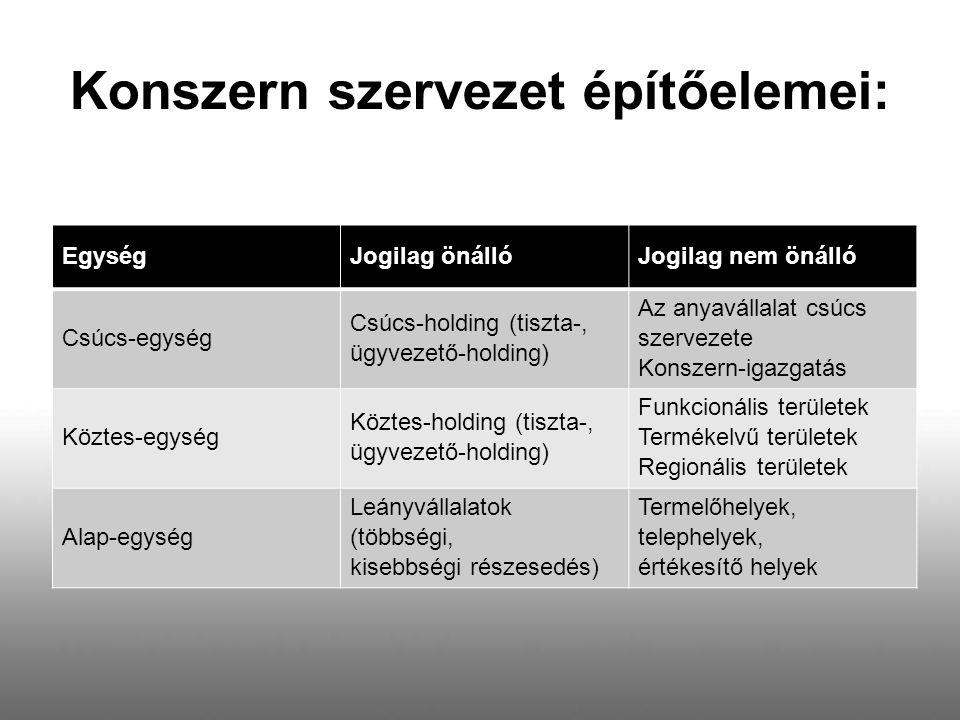 Konszern szervezet építőelemei: