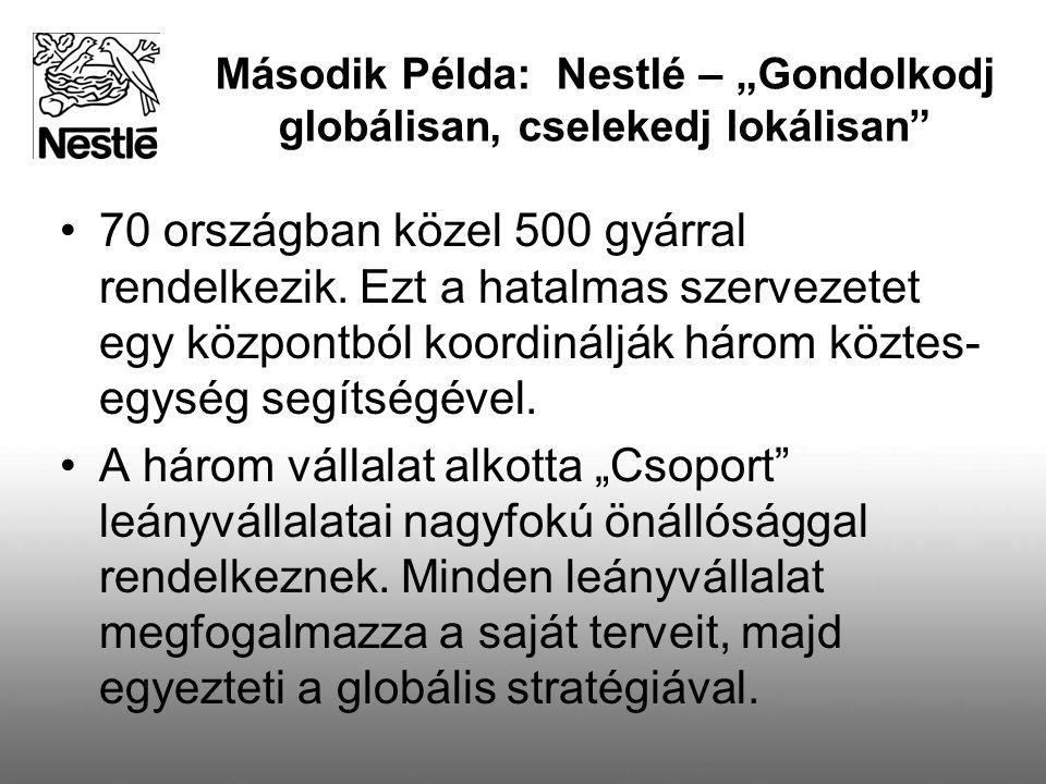 """Második Példa: Nestlé – """"Gondolkodj globálisan, cselekedj lokálisan"""